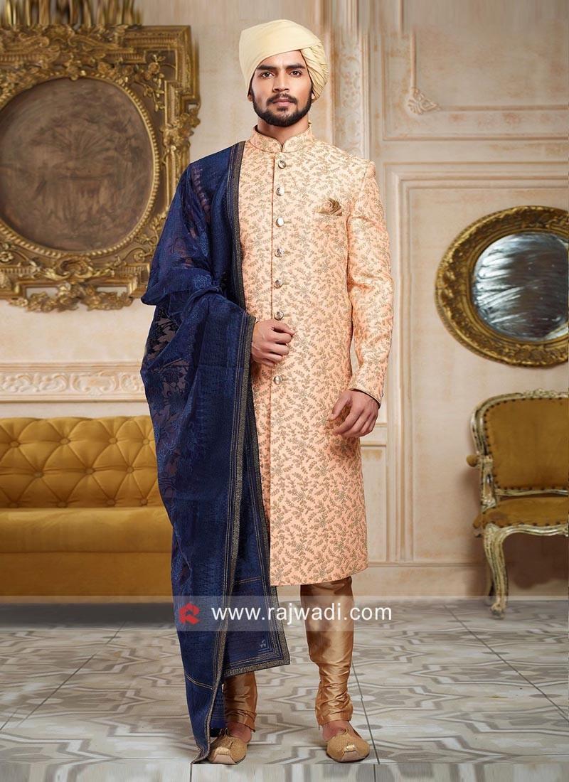 Peach Zari Embroidered Sherwani With Stylish Dupatta