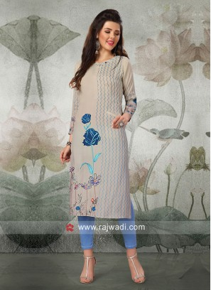 Light Grey Butter Silk Kurti