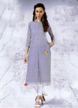 Light Grey Cotton Checks Kurti