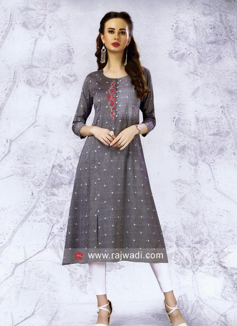 Light Grey Cotton Kurti