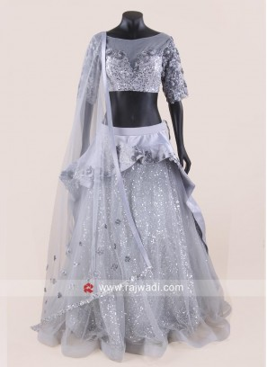 Light Grey Layered Lehenag Choli
