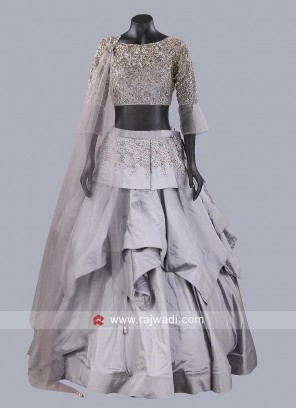 Light Grey Layered Lehenga Choli