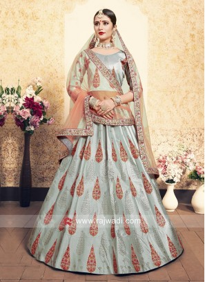 Light Grey Satin Lehenga Set
