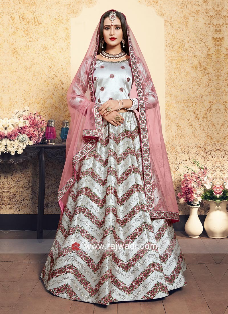 Light Grey Satin Lehenga Set with Dupatta