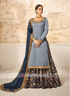 Light Grey Satin Silk Salwar Kameez