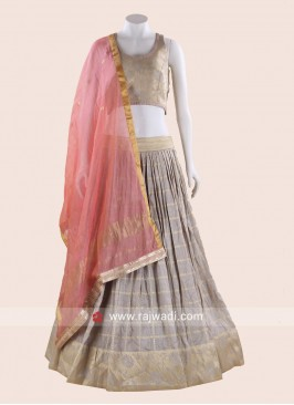 Light Grey Weaving Choli Suit