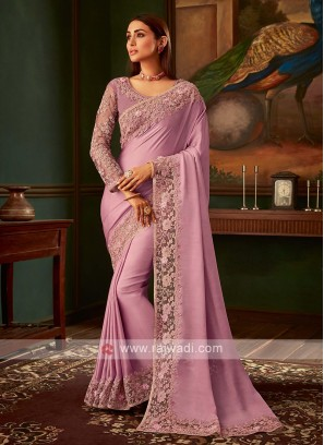 Light lavender satin silk saree