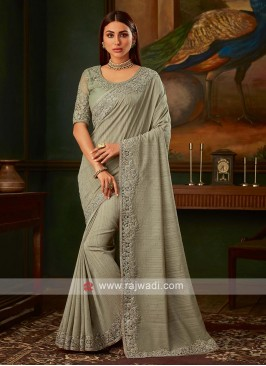 Light olive art silk saree