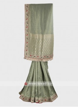 Light olive banarasi silk saree