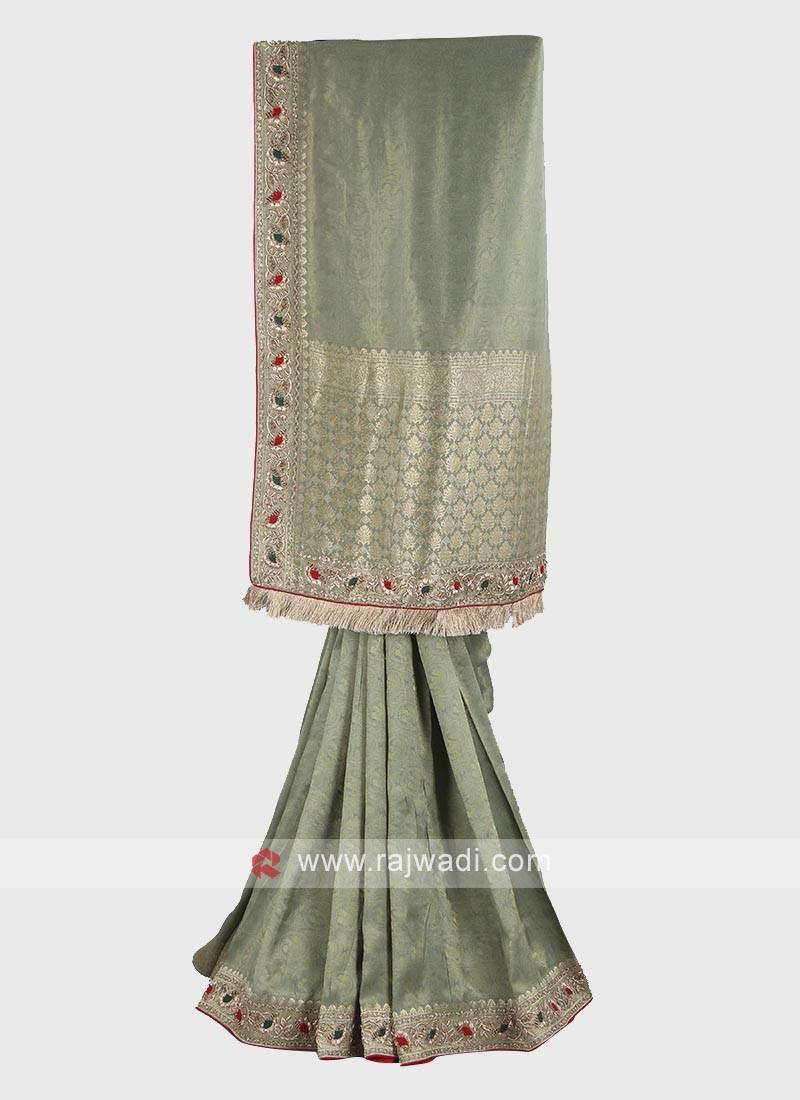 Light olive banarasi silk saree