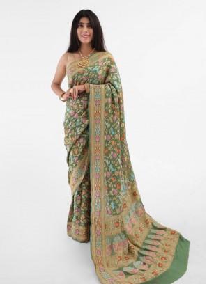 Light Olive Green Bandhani Chiffon Saree