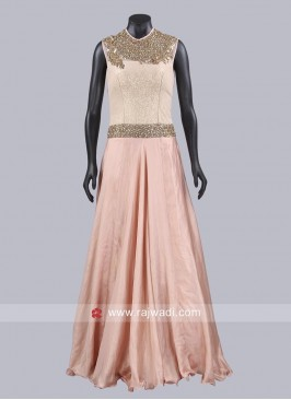 Light Orange A Line Gown
