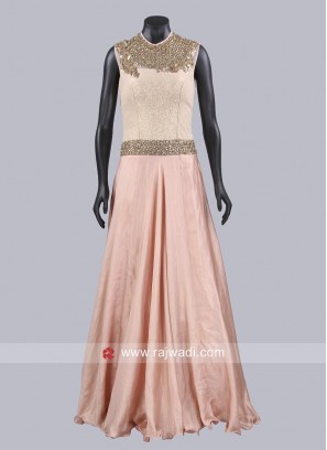 Light Orange A Line Gown