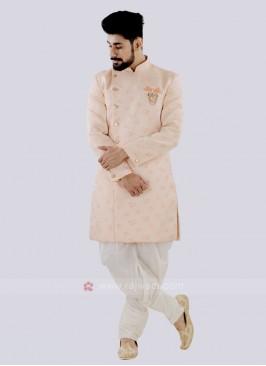 Light Orange And Off White Patiala Suit