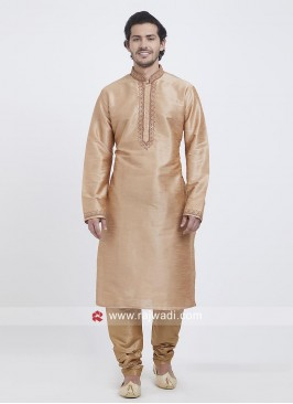 Light Orange Art Silk Kurta Set