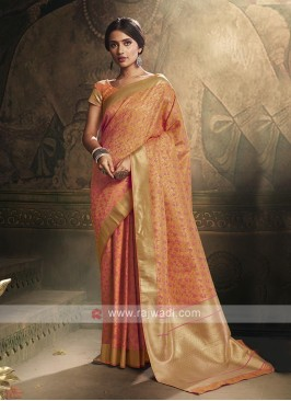 Light Orange Color Banarasi Silk Saree