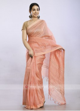 Light coral color casual saree