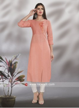 Light Orange Cotton Kurti
