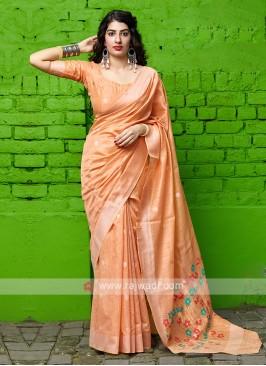 Light Orange Cotton Silk Saree
