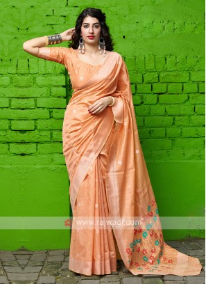Light Orange Cotton Silk Saree