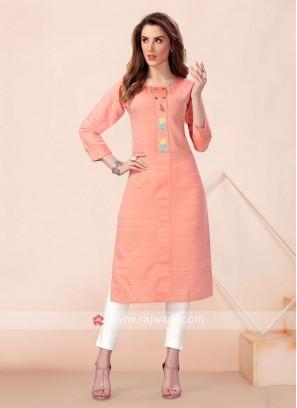 Light Orange Cotton Silk Straight Kurti