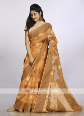 Light orange cotton soft saree
