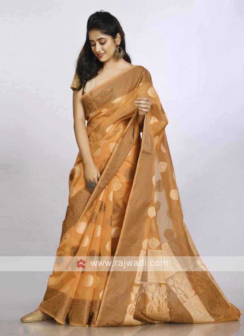 Light orange cotton soft saree