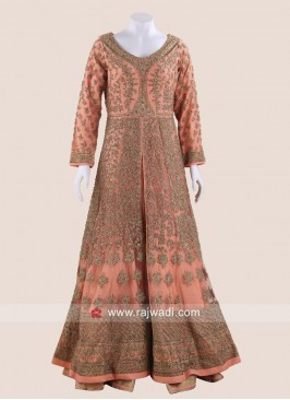 Light Orange Front Slit Net Gown