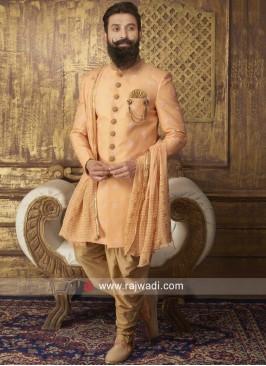 Light Orange Indo Western With Matching Dupatta