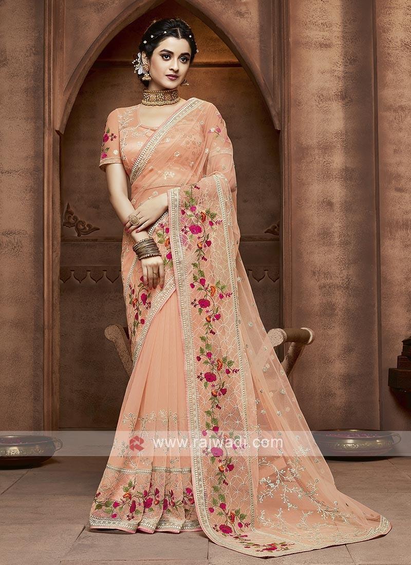 Light Orange Net Saree