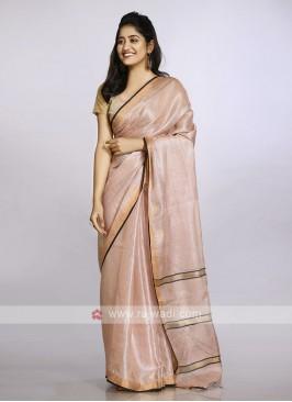 Light orange plain casual saree