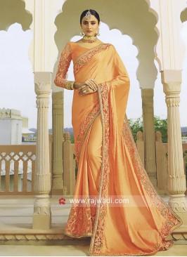 Light Orange Satin Silk Saree