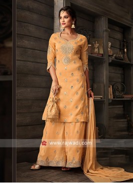 Light Orange Semi Stitched Gharara Suit