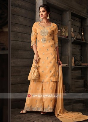 Light Orange Semi Stitched Gharara Suit