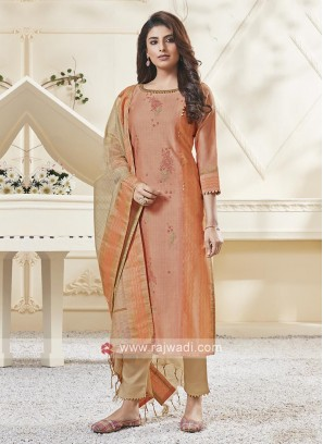 Shagufta Light Orange & Skin Color Pant Salwar Suit