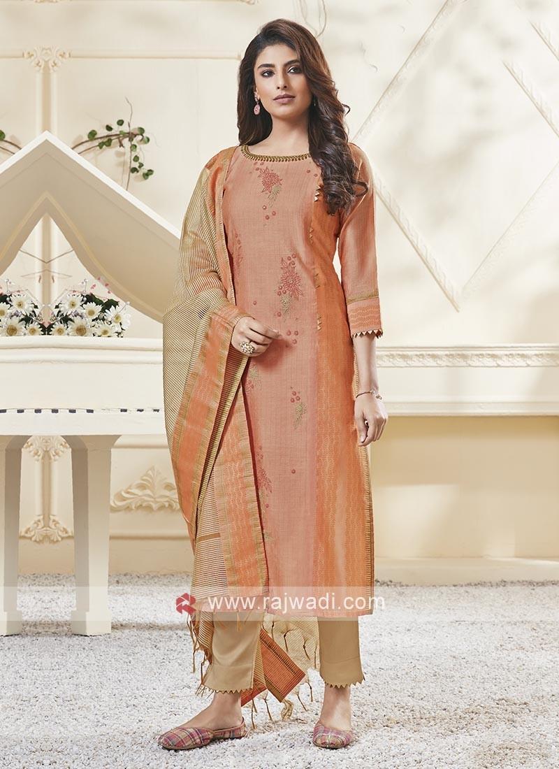Shagufta Light Orange & Skin Color Pant Salwar Suit