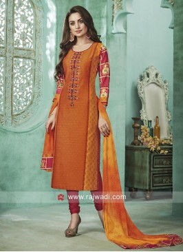 Light Orange Straight Fit Salwar Suit