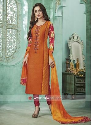 Light Orange Straight Fit Salwar Suit