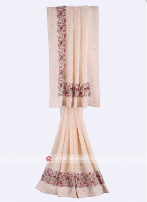 Light peach chiffon saree