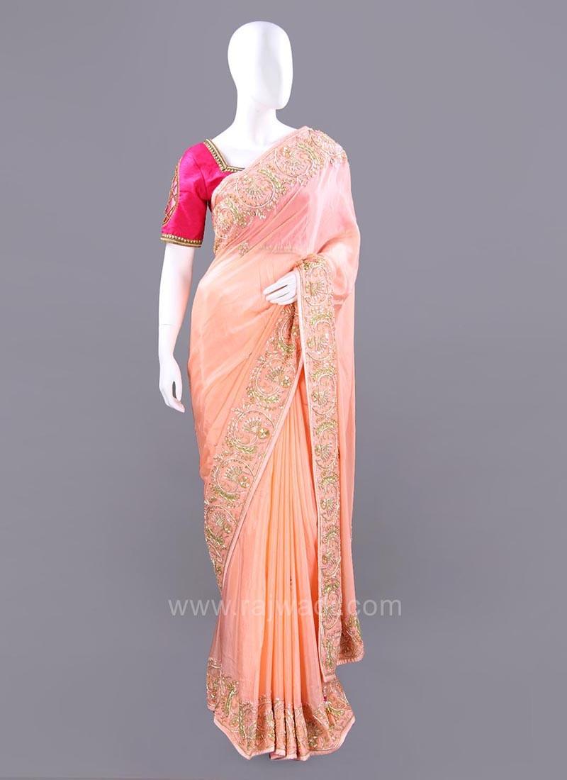 Light Peach Chiffon Silk Sari with Unstitched Blouse