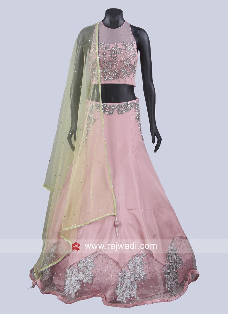 Light Peach Choli Suit with Contrast Dupatta