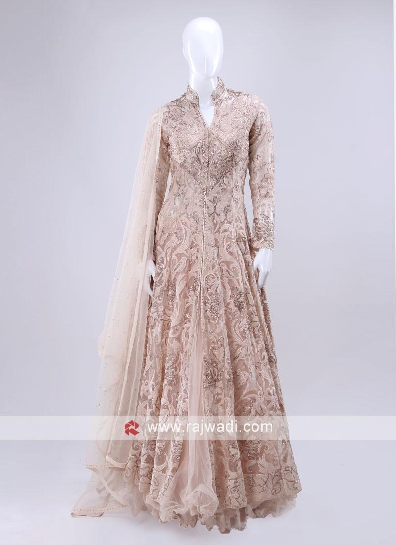 Light peach color indowesten style choli suit