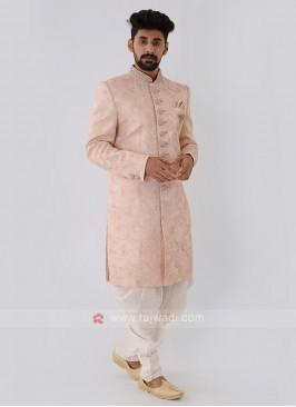 Light Peach Color Mens Indo-Western