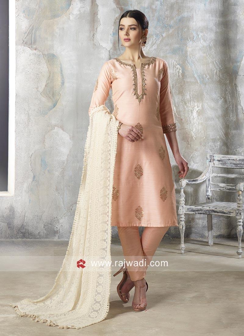 Light Peach Cotton Silk Pant Style Suit