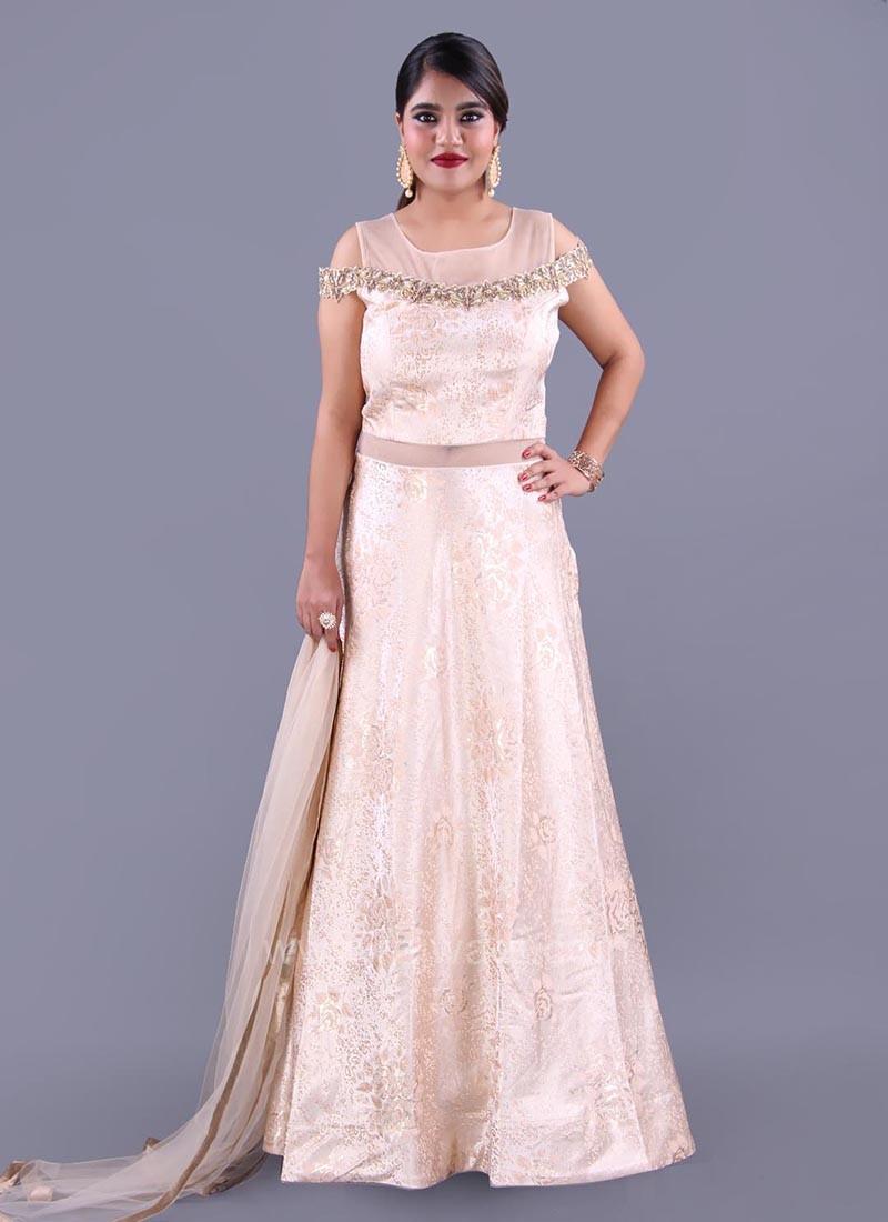 Light Peach Designer Cold Shoulder Anarkali Dress