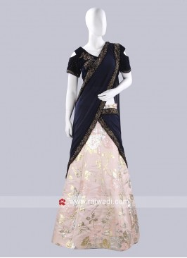 Light Peach Designer Lehenga Saree
