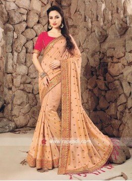 Light Peach Designer Saree