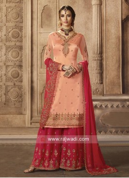 Light Peach Gharara Suit