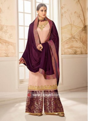 Light Peach Embroidered Salwar Kameez
