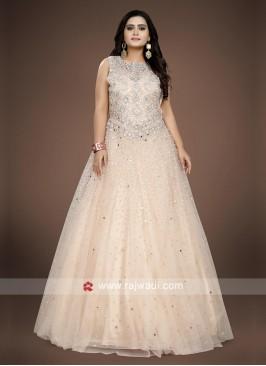 Light Peach floor length gown.